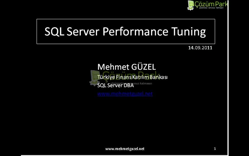 SQL Server Performance Tuning Optimization v1